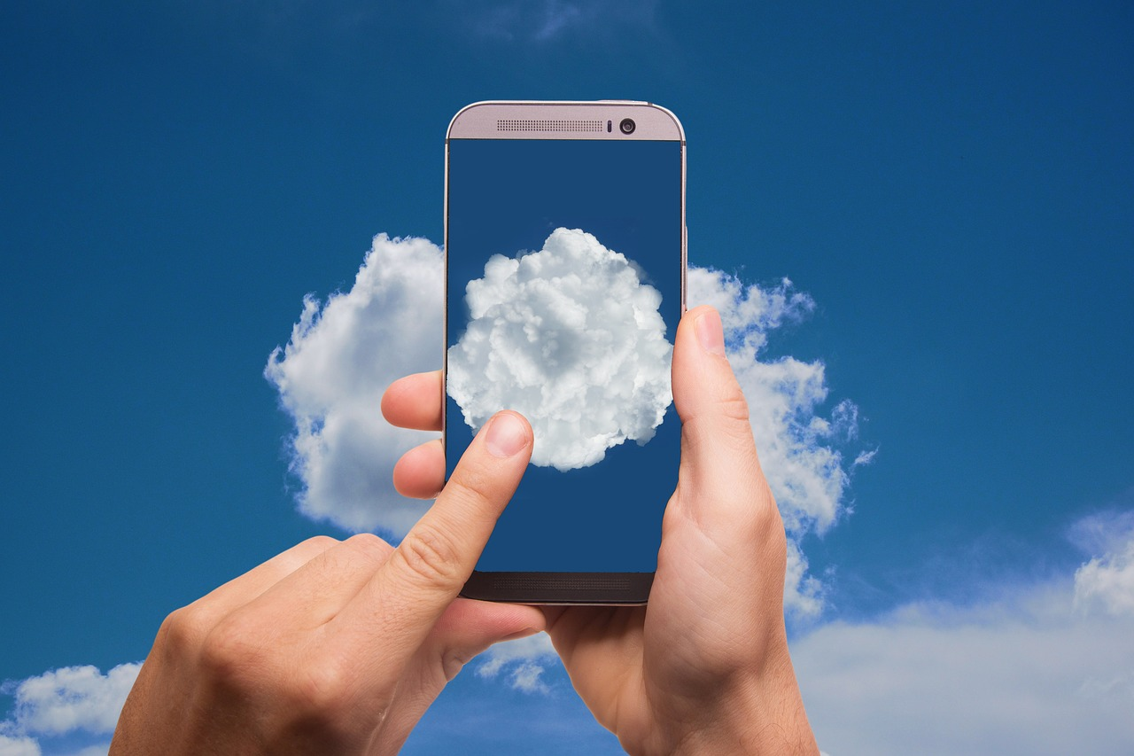 cloud, finger, smartphone